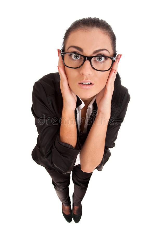 Αστείο πορτρέτο της έκπληκτης γυναίκας στοκ εικόνες με δικαίωμα ελεύθερης χρήσης