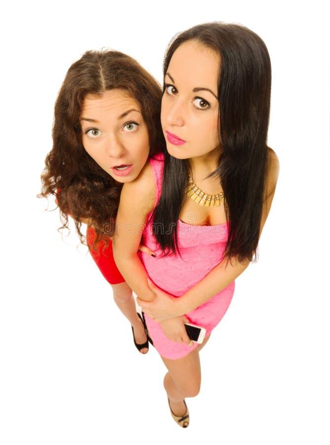 Αστείο πορτρέτο δύο νέων κοριτσιών στοκ εικόνες
