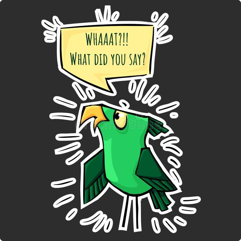 Αστείο πουλί κλονισμού κινούμενων σχεδίων αυτοκόλλητων ετικεττών πράσινο - τι εσείς είπε διανυσματική απεικόνιση