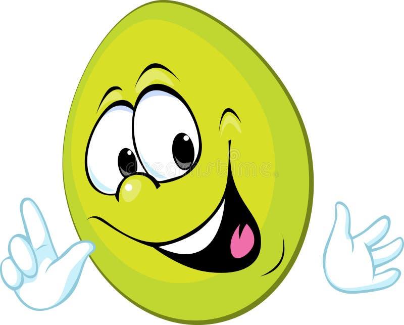 Αστείο πράσινο αυγό Πάσχας που χαμογελά - διάνυσμα ελεύθερη απεικόνιση δικαιώματος