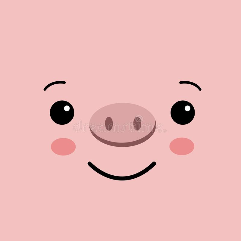 Αστείο πρόσωπο χοίρων kawaii στο ρόδινο υπόβαθρο χαριτωμένος χοίρος ελεύθερη απεικόνιση δικαιώματος