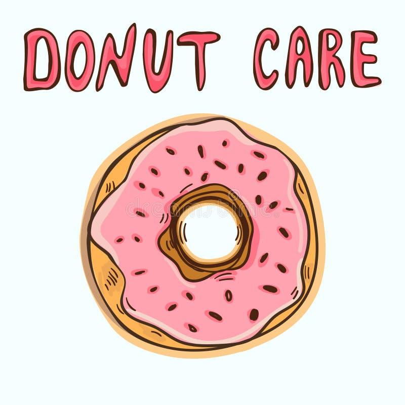 Αστείο πρότυπο αφισών ή μπλουζών με doughnut κινούμενων σχεδίων και doughnut κειμένων την προσοχή διανυσματική απεικόνιση