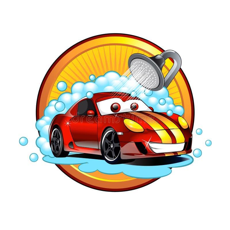 Αστείο πλύσιμο αυτοκινήτων κινούμενων σχεδίων απεικόνιση αποθεμάτων