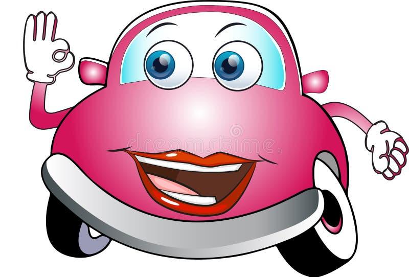 Αστείο ρόδινο χρωματισμένο αυτοκίνητο κινούμενων σχεδίων στοκ εικόνες με δικαίωμα ελεύθερης χρήσης
