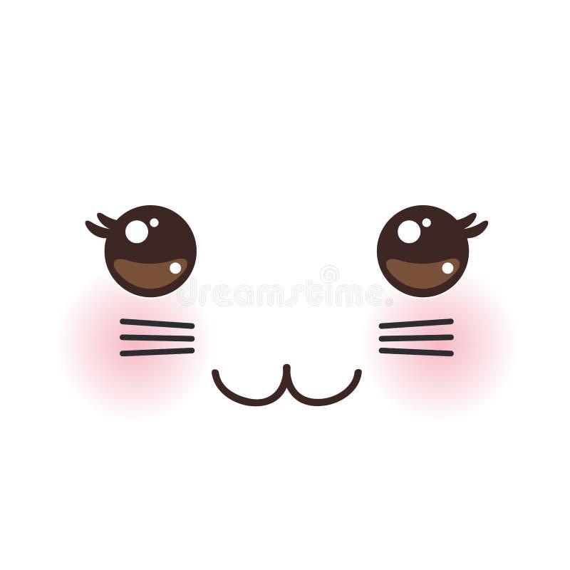 Αστείο ρύγχος γατών Kawaii με τα ρόδινα μάγουλα και τα μεγάλα μαυρισμένα μάτια στο άσπρο υπόβαθρο διάνυσμα διανυσματική απεικόνιση