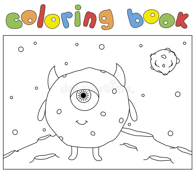 Αστείο στρογγυλό τέρας στην επιφάνεια του φεγγαριού Χρωματίζοντας βιβλίο για τα παιδιά διανυσματική απεικόνιση