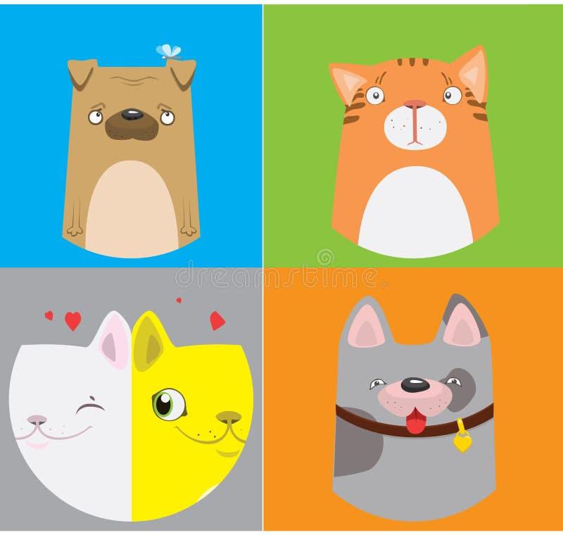 Αστείο σχέδιο σκυλιών και γατών Διανυσματική χαριτωμένη απεικόνιση ελεύθερη απεικόνιση δικαιώματος