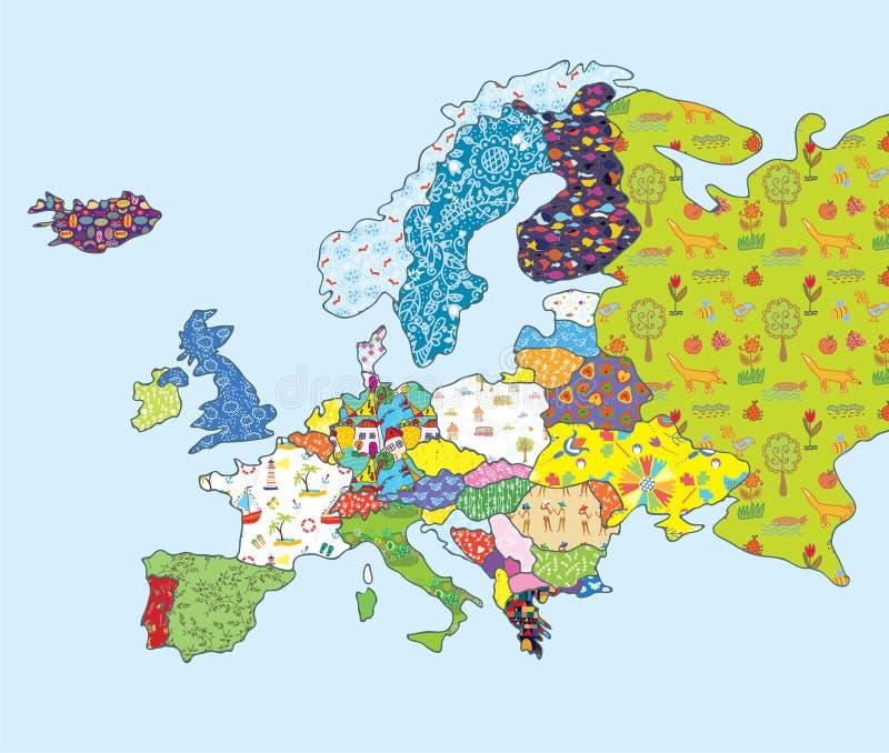 Αστείο σχέδιο χαρτών της Ευρώπης με το σχέδιο διανυσματική απεικόνιση