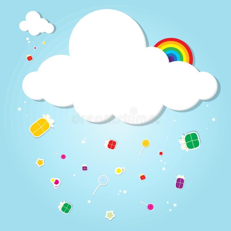 Αστείο σύννεφο. βροχή των δώρων ελεύθερη απεικόνιση δικαιώματος