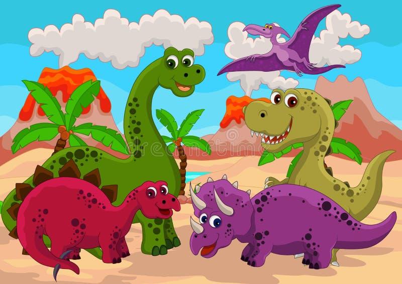 Αστείο σύνολο κινούμενων σχεδίων δεινοσαύρων ελεύθερη απεικόνιση δικαιώματος