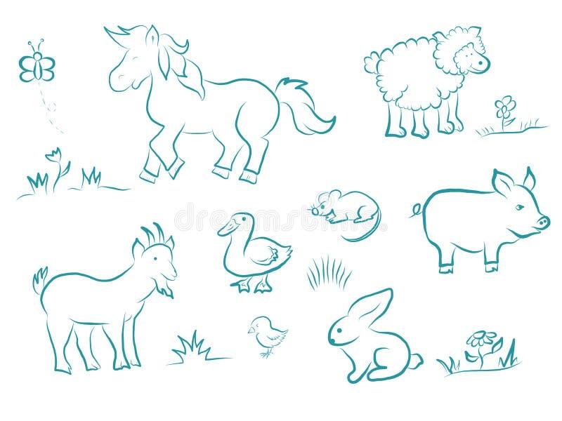 Αστείο σύνολο κινούμενων σχεδίων ζώων αγροκτημάτων Άλογο, πρόβατα, χοίρος, αίγα, κουνέλι, πάπια, νεοσσός, ποντίκι, πεταλούδα στη  ελεύθερη απεικόνιση δικαιώματος