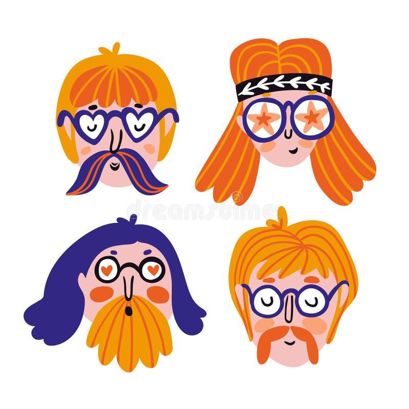 Αστείο σύνολο χαριτωμένων πορτρέτων χίπηδων Διανυσματικά είδωλα για το φεστιβάλ Συρμένα χέρι πρόσωπα απεικόνιση αποθεμάτων