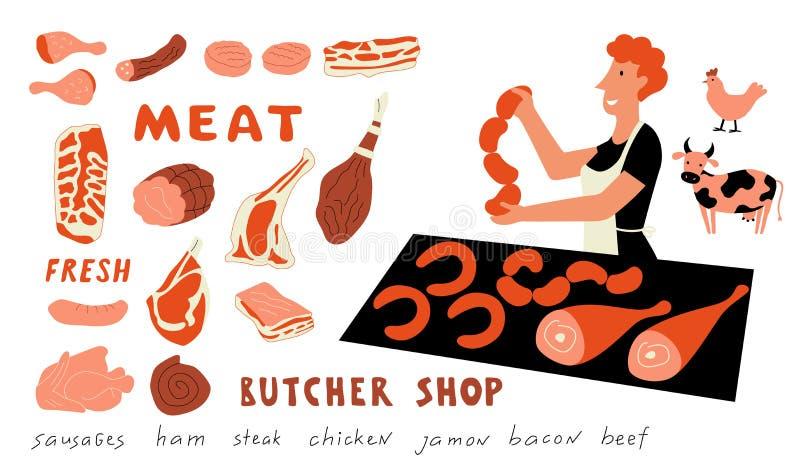 Αστείο σύνολο doodle κρέατος Χαριτωμένη γυναίκα κινούμενων σχεδίων, πωλητής αγοράς τροφίμων με τα αγροτικά προϊόντα E r απεικόνιση αποθεμάτων