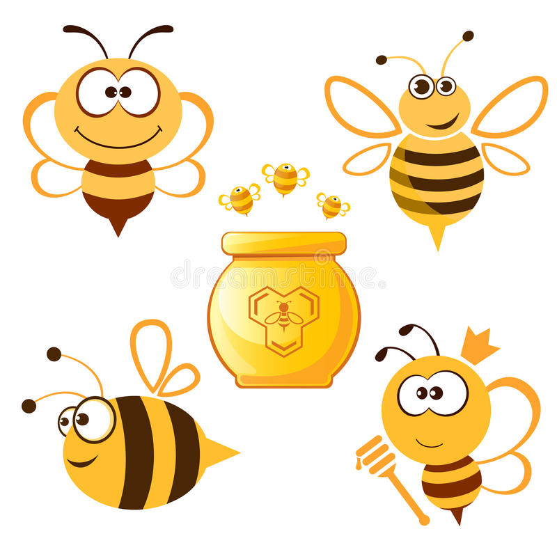 Αστείο σύνολο μελισσών και μελιού διανυσματική απεικόνιση