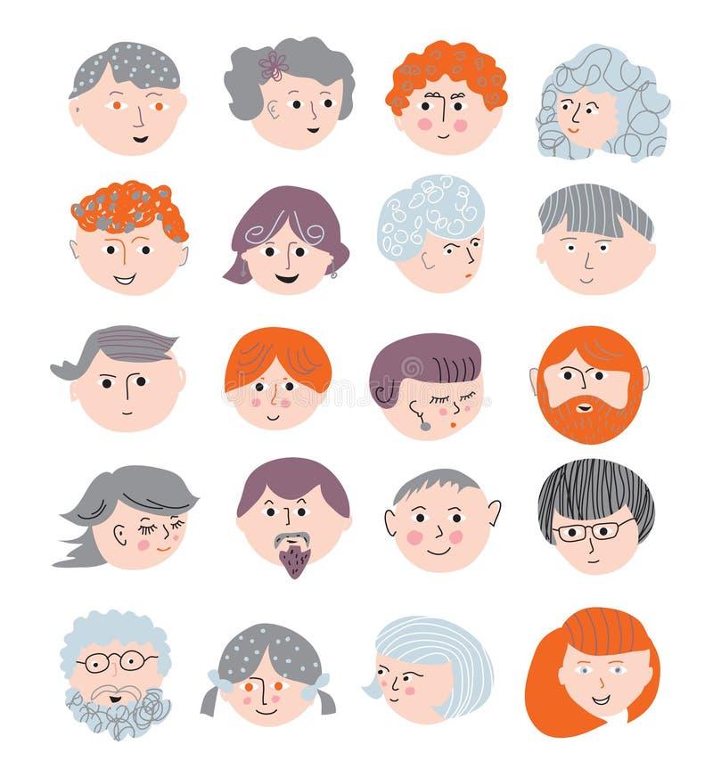 Αστείο σύνολο προσώπων ανθρώπων χαριτωμένο ελεύθερη απεικόνιση δικαιώματος