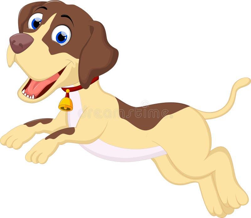 Αστείο τρέξιμο κινούμενων σχεδίων σκυλιών διανυσματική απεικόνιση
