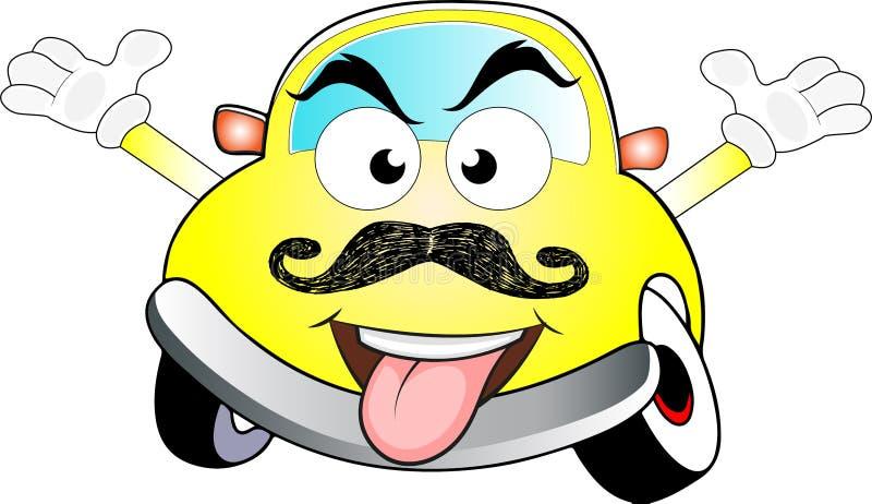 Αστείο φοβησμένο κίτρινο χρωματισμένο αυτοκίνητο κινούμενων σχεδίων στοκ εικόνα