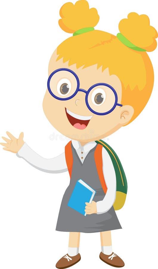 Αστείο χαμογελώντας μικρό κορίτσι με το σακίδιο πλάτης διανυσματική απεικόνιση