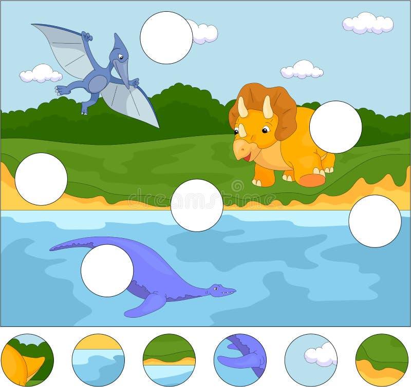 Αστείο χαριτωμένο pterodactyl, pliosaur και triceratops Ολοκληρώστε το π ελεύθερη απεικόνιση δικαιώματος