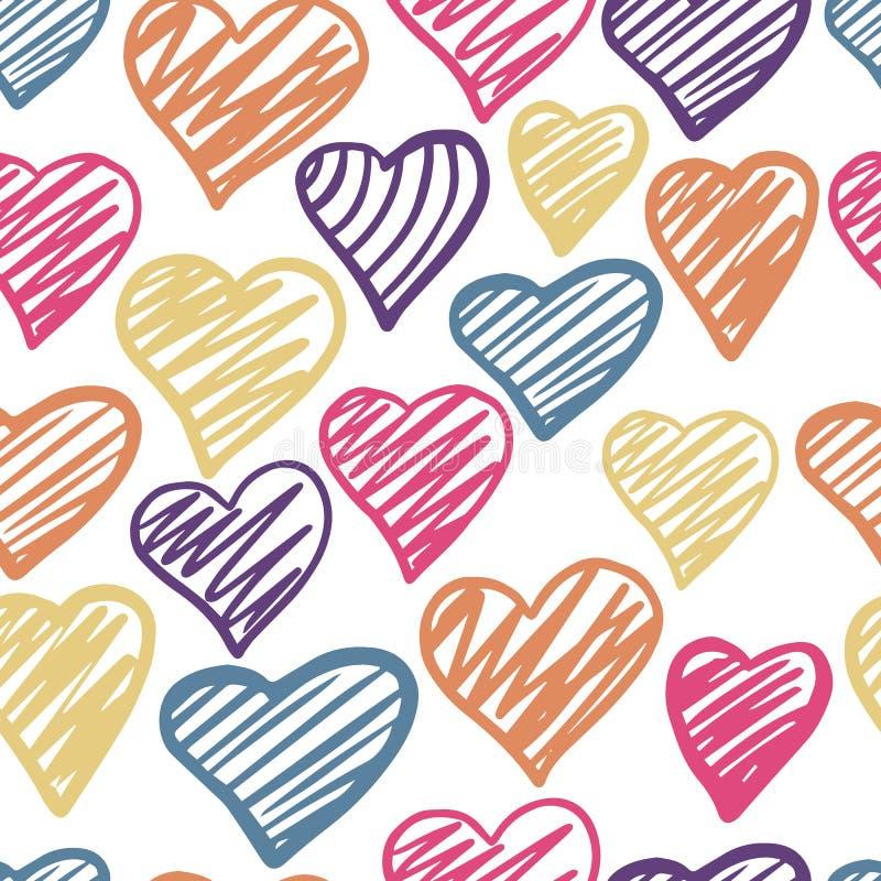 Αστείο χρωματισμένο άνευ ραφής σχέδιο καρδιών 14 Φεβρουαρίου ταπετσαρία στοκ εικόνες με δικαίωμα ελεύθερης χρήσης