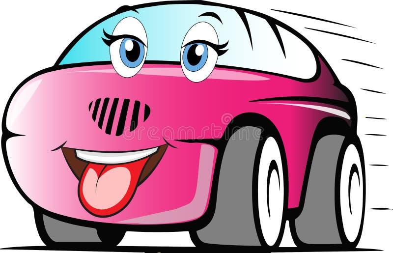 Αστείο χρωματισμένο αυτοκίνητο κινούμενων σχεδίων στοκ φωτογραφία