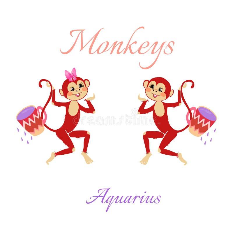 Αστείο ωροσκόπιο με τους χαριτωμένους πιθήκους Zodiac σημάδια aquinas ελεύθερη απεικόνιση δικαιώματος