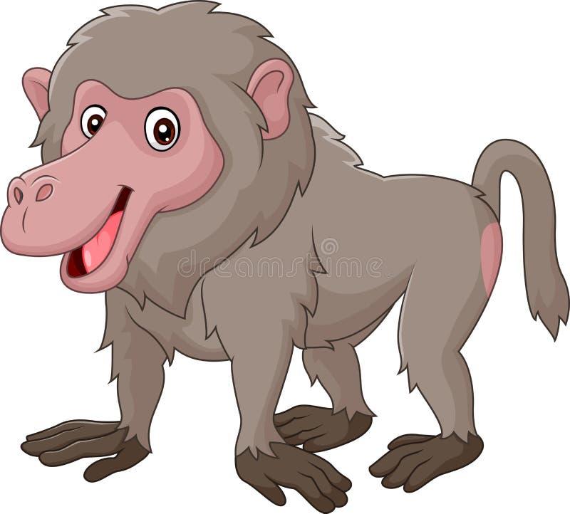 Αστείο baboon κινούμενων σχεδίων που απομονώνεται στο άσπρο bacjground διανυσματική απεικόνιση