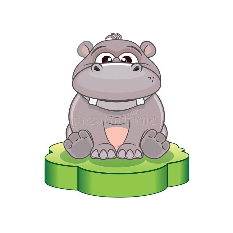 Αστείο hippo κινούμενων σχεδίων διάνυσμα ελεύθερη απεικόνιση δικαιώματος