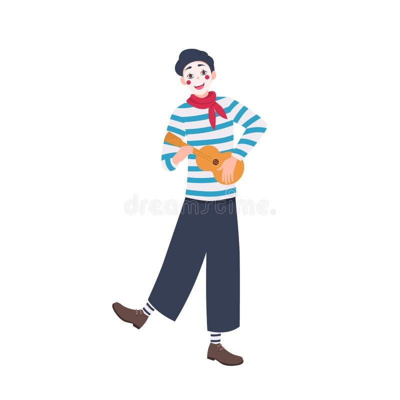 Αστείο mime beret στην κιθάρα παιχνιδιού και το τραγούδι τραγουδιού Χαριτωμένος χαρούμενος κωμικός με το ukulele που απομονώνεται ελεύθερη απεικόνιση δικαιώματος