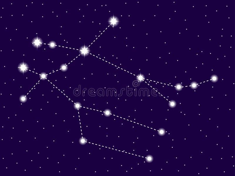 Αστερισμός Διδυμων Έναστρος νυχτερινός ουρανός Διαστημικά αντικείμενα, γαλαξίας r απεικόνιση αποθεμάτων