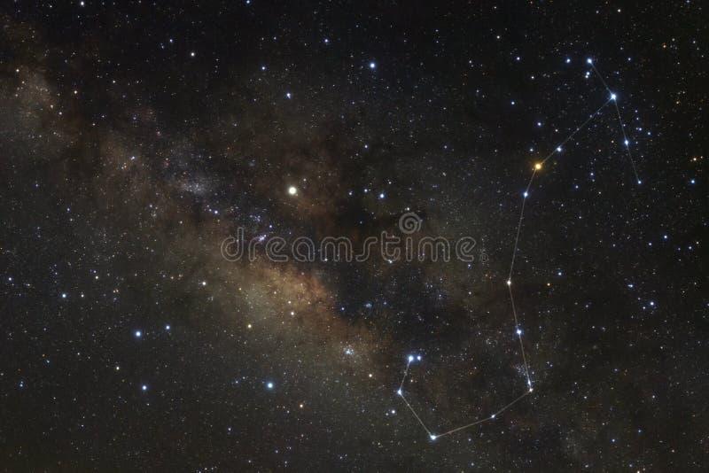 Αστερισμός Scorpius και γαλακτώδης γαλαξίας τρόπων στοκ εικόνες