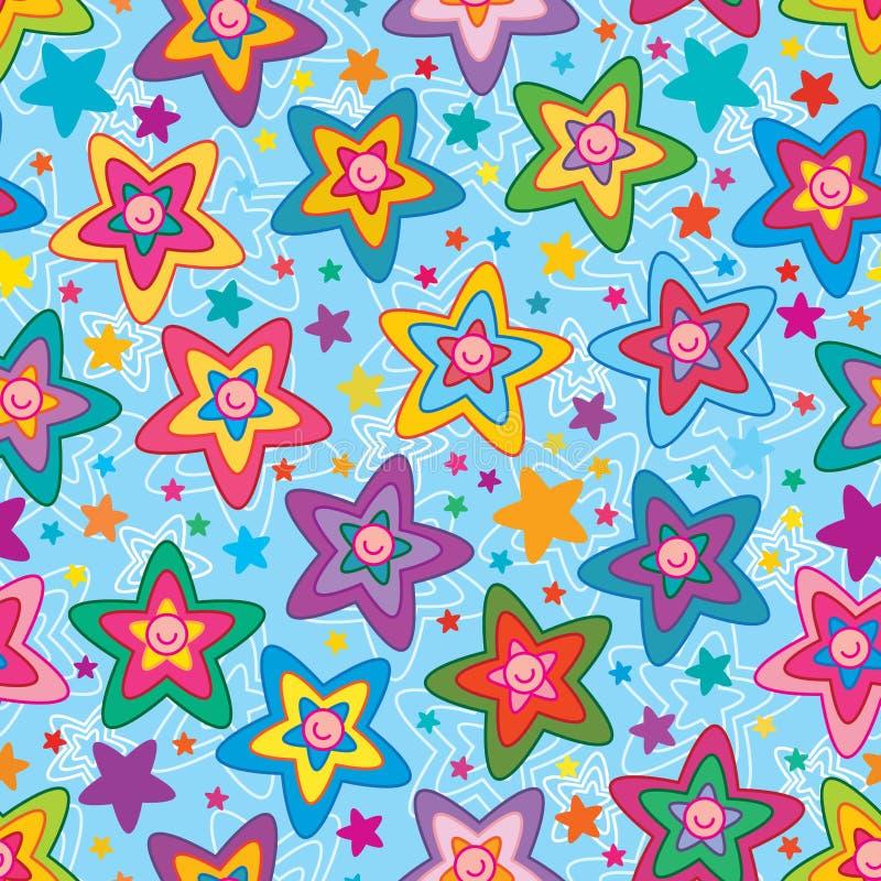 Αστεριών ζωηρόχρωμο άνευ ραφής σχέδιο προσώπου λουλουδιών χαριτωμένο διανυσματική απεικόνιση