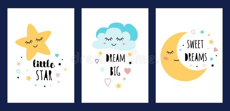 Αστεριών σύννεφων φεγγαριών ύπνου καρτών καθορισμένα ύπνου χαρακτήρα μεγάλα γλυκά deams ονείρου κειμένων αφισών συλλογής αστεία λ διανυσματική απεικόνιση