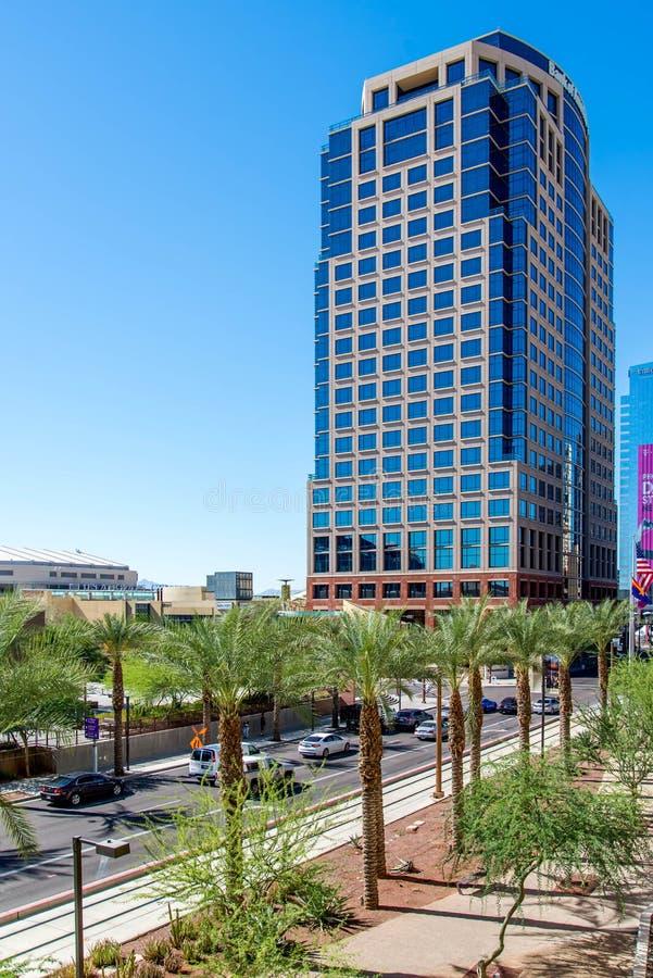 Αστικά οδικές τοπία και κτήρια στο στο κέντρο της πόλης Phoenix, AZ στοκ φωτογραφία με δικαίωμα ελεύθερης χρήσης