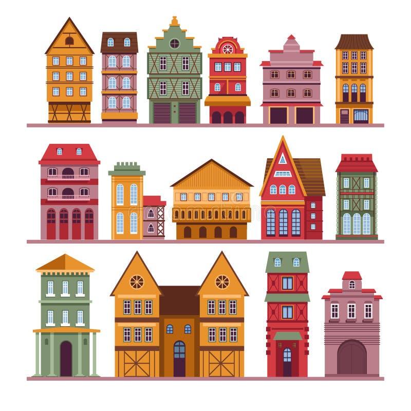 Αστικά σπίτια πόλης κτηρίων αρχιτεκτονικής και απομονωμένες μέγαρα οικοδομήσεις διανυσματική απεικόνιση
