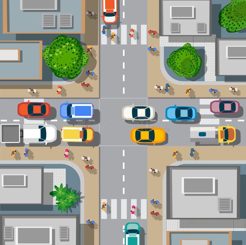 Αστικά σταυροδρόμια με τα αυτοκίνητα διανυσματική απεικόνιση