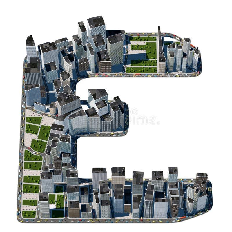 Αστική επιστολή Ε από τη συλλογή πηγών πόλεων διανυσματική απεικόνιση