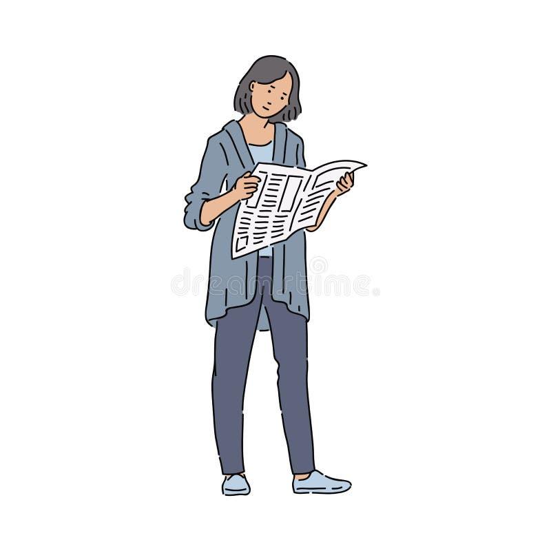 Αστική εφημερίδα ανάγνωσης γυναικών ενδιαφερόμενη στα παγκόσμιες σφαιρικές προβλήματα και τις ειδήσεις διανυσματική απεικόνιση