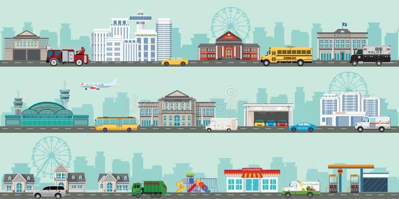 Αστική μεγάλη εικονική παράσταση πόλης με τα διάφορα μεγάλα σύγχρονα κτήρια και προάστιο με τα ιδιωτικά σπίτια διανυσματική απεικόνιση