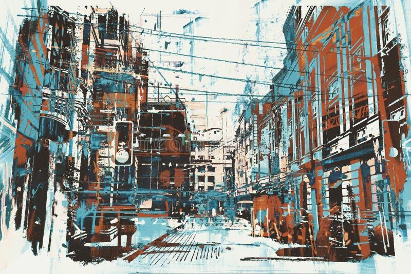 Αστική οδός με τη σύσταση grunge διανυσματική απεικόνιση
