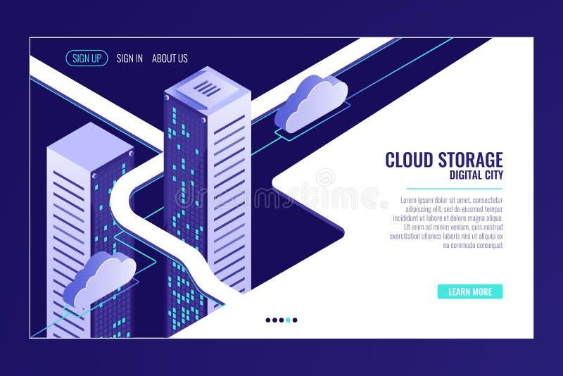 Αστική πόλη στοιχείων, έννοια αποθήκευσης σύννεφων, ράφι δωματίων κεντρικών υπολογιστών, κέντρο δεδομένων, βάση δεδομένων, isomet απεικόνιση αποθεμάτων