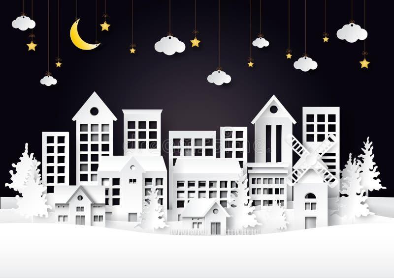 Αστική πόλη στο υπόβαθρο τέχνης εγγράφου σκηνής νύχτας διανυσματική απεικόνιση