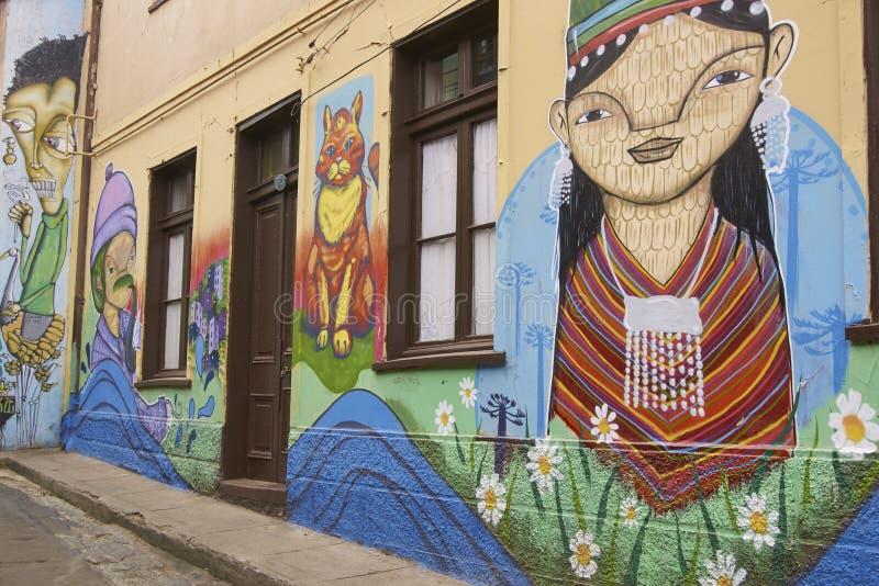 Αστική τέχνη σε Valparaiso, Χιλή στοκ εικόνα με δικαίωμα ελεύθερης χρήσης