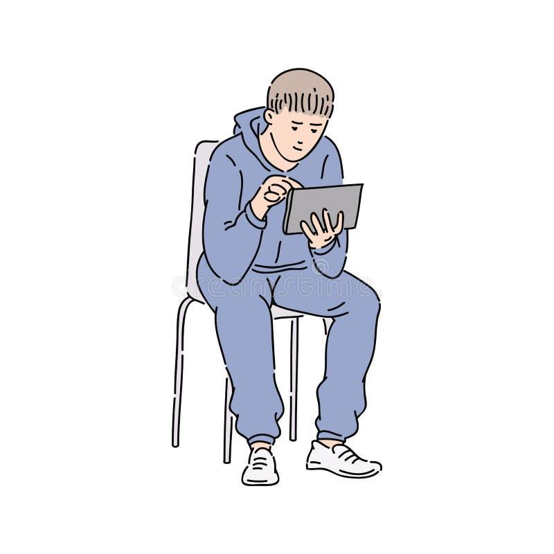 Αστικός νεαρός άνδρας στο περιστασιακό βλέμμα που παίρνει τις ειδήσεις από το διάνυσμα σκίτσων ταμπλετών του ελεύθερη απεικόνιση δικαιώματος