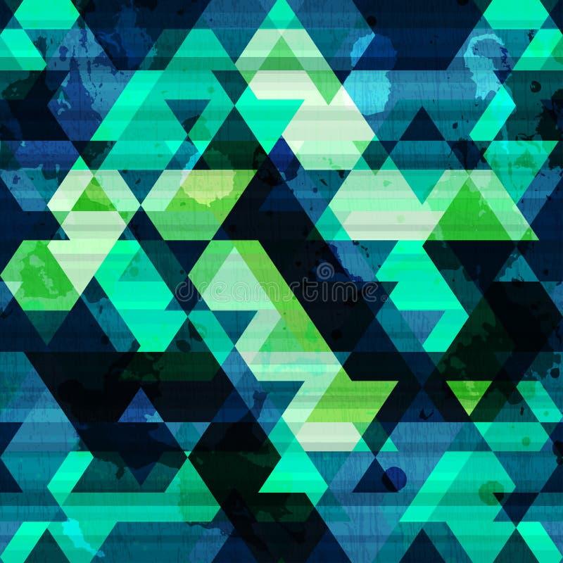 Αστικό άνευ ραφής σχέδιο τριγώνων με την επίδραση grunge διανυσματική απεικόνιση
