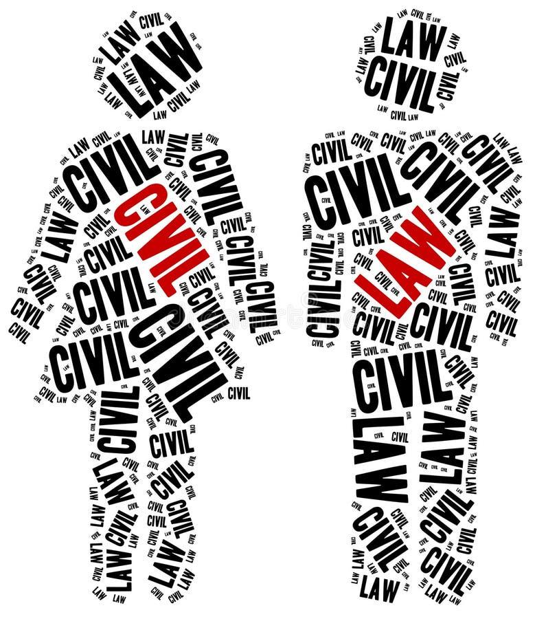 Αστικό δίκαιο Έννοια σχετική με τους διαφορετικούς τομείς του νόμου διανυσματική απεικόνιση