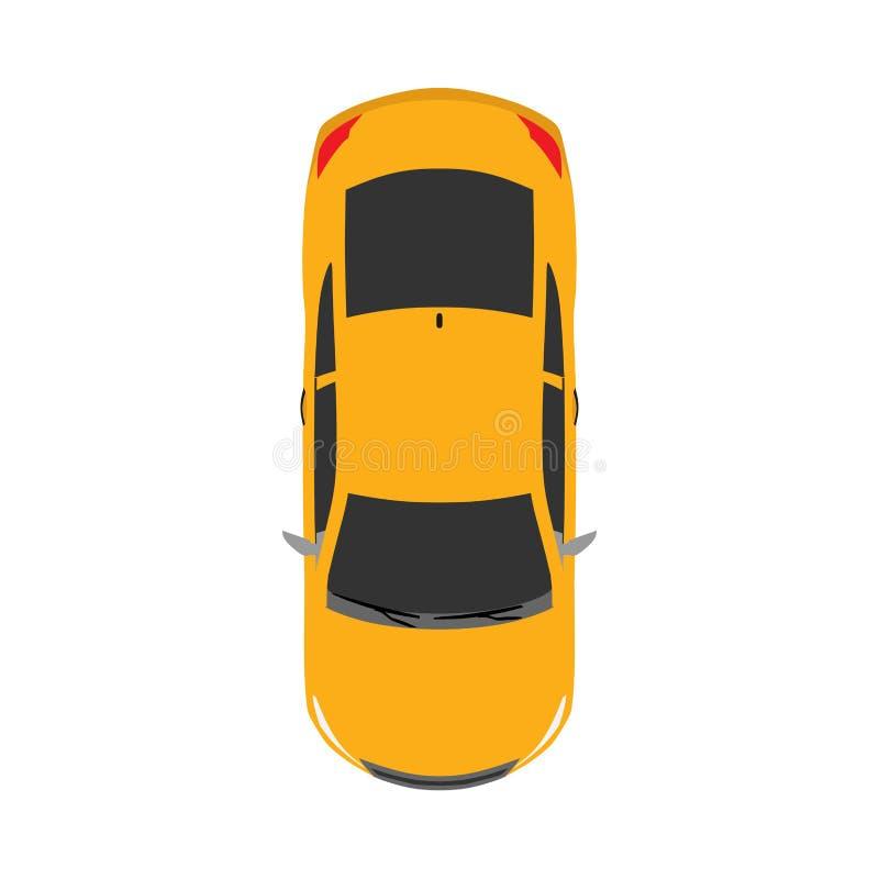 Αστικό αυτοκινητικό επίπεδο διανυσματικό εικονίδιο τοπ έννοιας άποψης αυτοκινήτων που απομονώνεται στο λευκό απεικόνιση αποθεμάτων