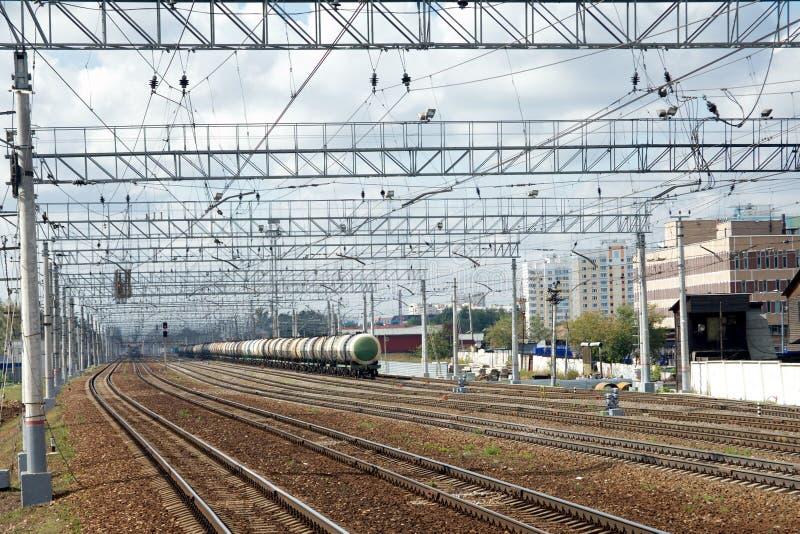Αστικό βιομηχανικό τοπίο και πολύς σιδηρόδρομος τ στοκ φωτογραφίες με δικαίωμα ελεύθερης χρήσης