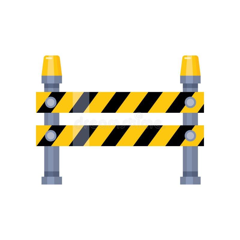 Αστικό εμποδίζοντας οδικό σημάδι με τα κίτρινα λωρίδες και τους ηλεκτρικούς φακούς διανυσματική απεικόνιση