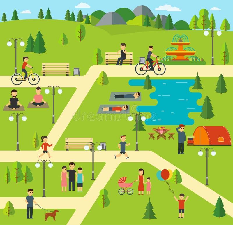 Αστικό δημόσιο πάρκο, που στρατοπεδεύει στο πάρκο, πικ-νίκ, που περπατά το σκυλί στο πάρκο, σύνοδοι γιόγκας ελεύθερη απεικόνιση δικαιώματος